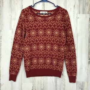 Forever 21 | Red&Cream Geometric Sweater Large
